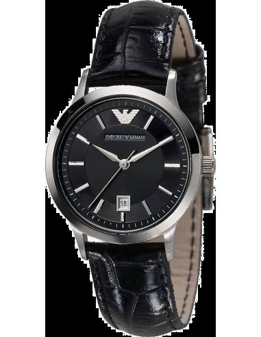 Chic Time | Montre Femme Emporio Armani AR2412 Bracelet En Cuir Noir verni  | Prix : 215,00€