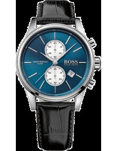 Chic Time | Montre Homme Hugo Boss 1513283 Bracelet cuir noir Cadran bleu  | Prix : 330,65€