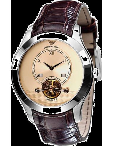 Chic Time | Montre Homme Emporio Armani AR4638 Bracelet cuir vernis brun   | Prix : 599,00€