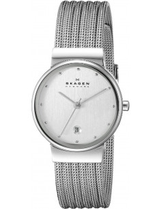 Chic Time | Montre Femme Skagen 355SSS1 Collection Patterned Mesh Argent  | Prix : 142,43 €