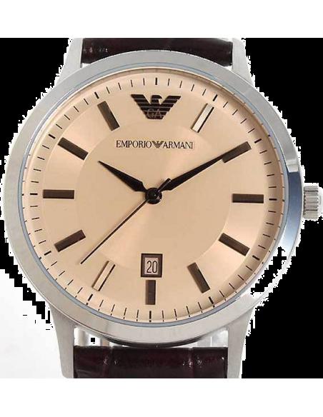 Chic Time   Montre Homme Emporio Armani Classic AR2428 bracelet en cuir brun    Prix : 215,00€
