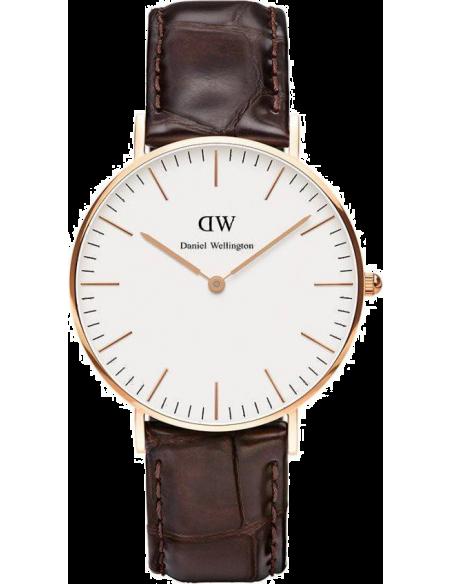 Chic Time | Montre Femme Daniel Wellington Classic York 0510DW Cuir croco marron  | Prix : 101,40€