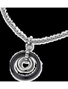 Chic Time | Collier Lotus Ceramic LS1610-1/2 pendentif cercle céramique noir  | Prix : 43,20€