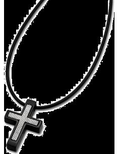 Chic Time | Collier Homme Lotus LS1633-1/3 pendentif croix acier et pvc  | Prix : 33,00€