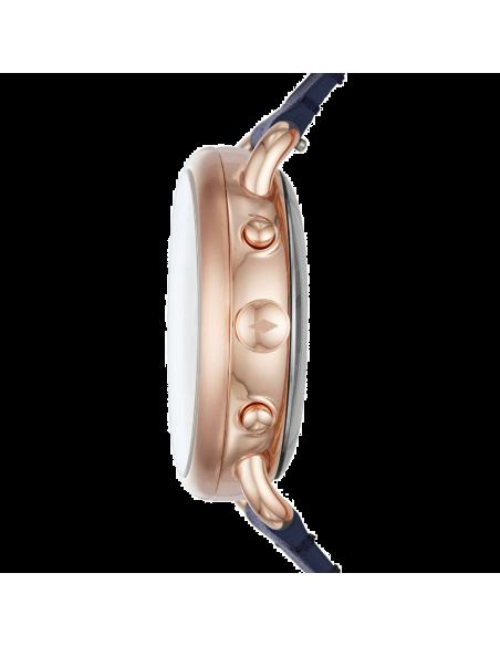 Chic Time | Montre Connectée Fossil Q Tailor FTW1128 Bracelet Cuir Bleu  | Prix : 152,15€