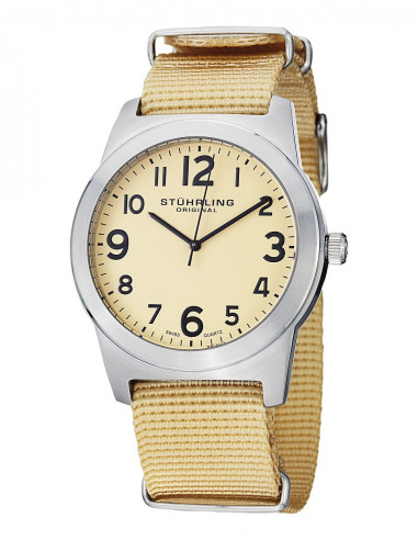 Chic Time | Montre Homme Stuhrling Original Aviator 409.SET.01 Beige  | Prix : 85,49€