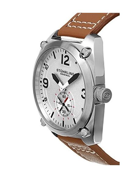 Chic Time | Montre Homme Stuhrling Original Aviator 581.01 Marron  | Prix : 147,90€