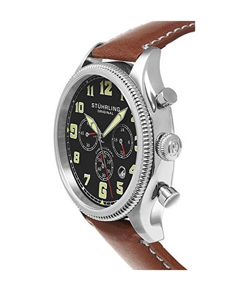 Chic Time | Montre Homme Stuhrling Original Aviator 584.01 Marron  | Prix : 252,99€