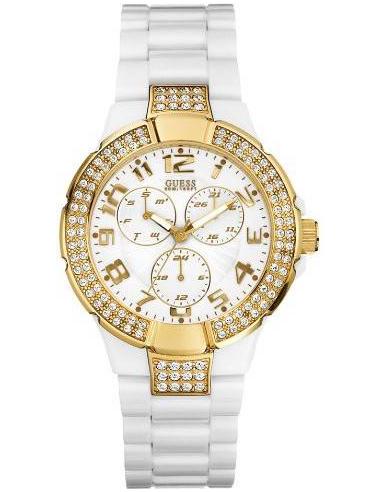 Chic Time | Montre Guess Prism femme U11623L1 Bracelet résine blanc  | Prix : 289,00€