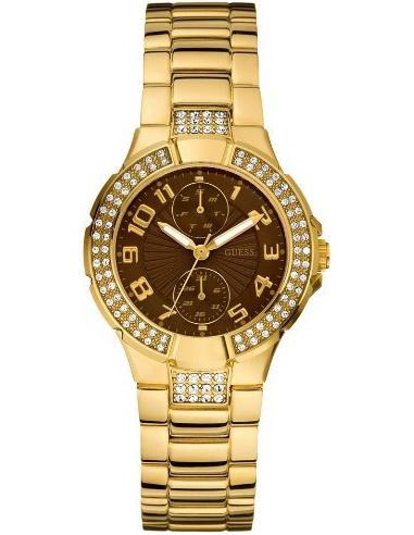 Chic Time | Montre Guess Prism U13002L2 Cadran marron & Strass  | Prix : 239,90€