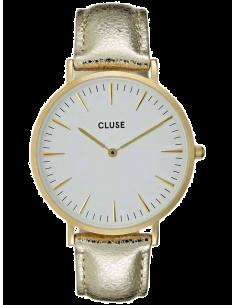 Chic Time | Montre Cluse La Bohème CL18421 Cuir Doré Gold White/Gold Metallic  | Prix : 99,95€