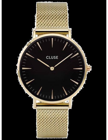 Chic Time   Montre Cluse La Bohème Mesh CL18110 Gold/Black bracelet en maille milanaise doré    Prix : 99,95€