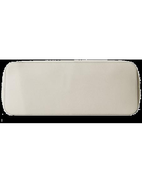 Chic Time | Sac à main Michael Kors Jet Set Travel cuir Saffiano blanc avec glissière supérieure  | Prix : 325,00€