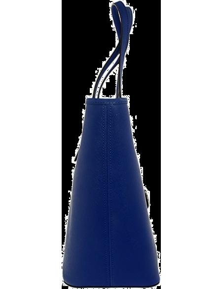 Chic Time | Sac à main Michael Kors Jet Set Travel cuir Saffiano bleu électrique avec glissière supérieure  | Prix : 325,00€