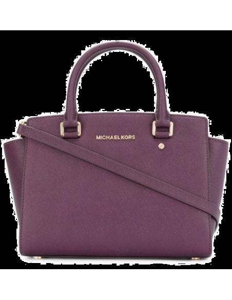 Chic Time | Sac à main Michael Kors Selma Sacoche cuir saffiano violet  | Prix : 350,00€