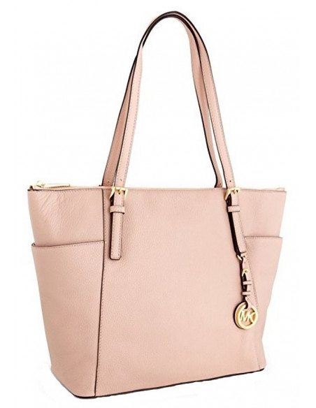 Chic Time | Sac à main Michael Kors Jet Set Large en cuir beige saffiano  | Prix : 250,00 €
