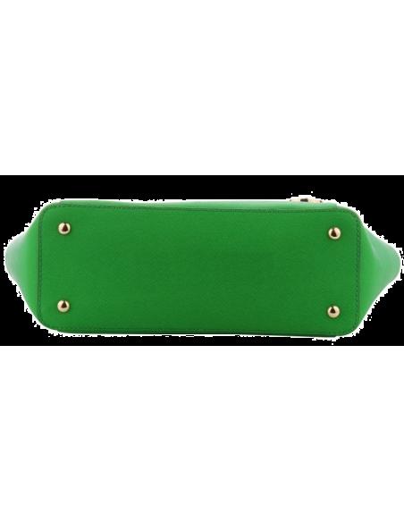 Chic Time | Sac à main Michael Kors Jet Set en cuir vert Saffiano à glissière sur le dessus  | Prix : 299,00€