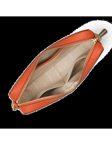 Chic Time | Sac à bandoulière Michael Kors Jet Set en cuir Orange Saffiano  | Prix : 195,00€