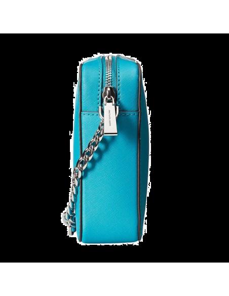 Chic Time | Sac à bandoulière Michael Kors Jet Set en cuir turquoise Saffiano  | Prix : 195,00€