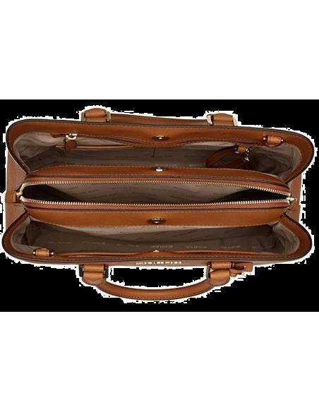 Chic Time | Sac à main grand Michael Kors Savannah en cuir brun Saffiano  | Prix : 375,00€