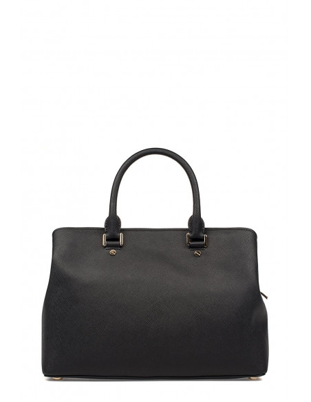 Chic Time | Sac à main grand Michael Kors Savannah en cuir noir Saffiano  | Prix : 375,00 €