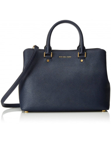Chic Time | Sac à main grand Michael Kors Savannah en cuir bleu Saffiano  | Prix : 375,00 €
