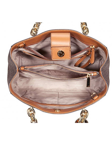 Chic Time | Sac à main Michael Kors Cynthia avec logo en cuir brun  | Prix : 375,00€