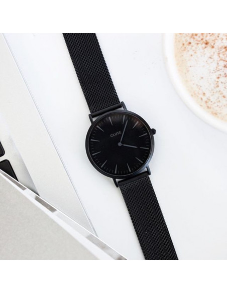 Chic Time | Montre Cluse Minuit CL30011 Mesh Full Black bracelet en maille milanaise noire  | Prix : 99,95€