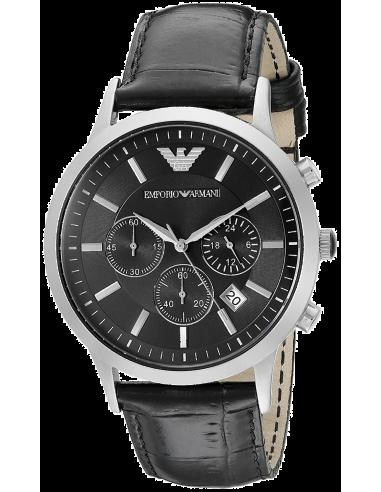 Chic Time | Montre Homme Emporio Armani AR2447 Noire Bracelet cuir  | Prix : 149,50€