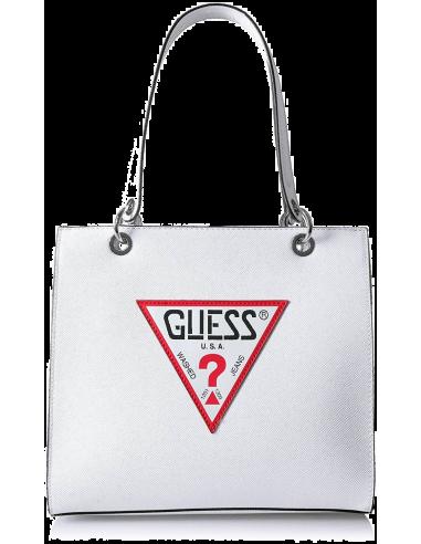 Chic Time | Sac à Main Guess Varsity Pop Shopper Blanc  | Prix : 119,00€