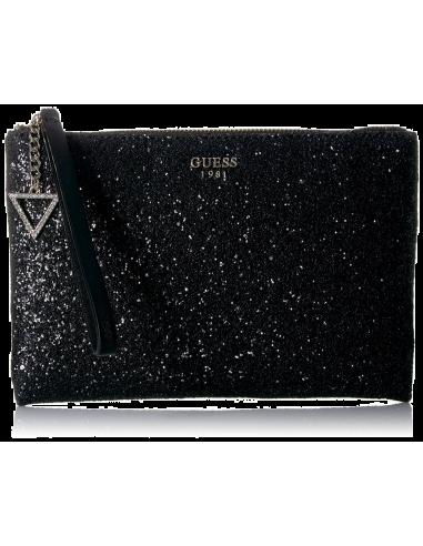 Chic Time   Sac Bandoulière Pochette Guess Ever After Glitter Noir    Prix : 139,00€