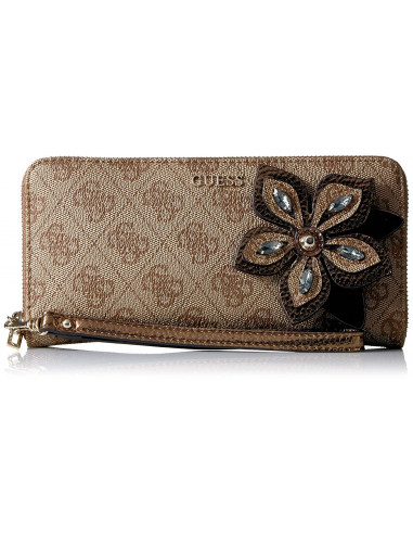 Chic Time | Portefeuille Guess Sibyl Monogram Marron  | Prix : 89,00 €