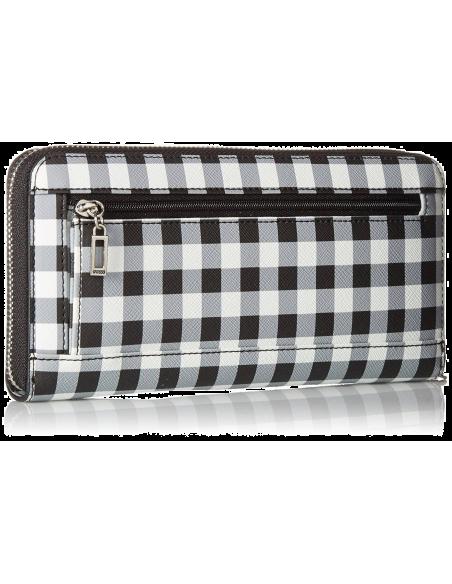Chic Time | Portefeuille Guess Britta Checker Blanc Noir  | Prix : 99,00€
