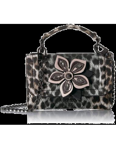 Chic Time | Sac bandoulière Guess Sibyl Leopard Noir  | Prix : 89,00€