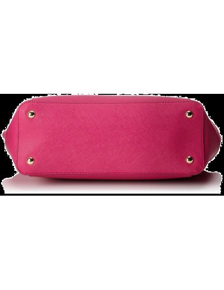 Chic Time   Sac à main Michael Kors Jet Set en cuir rose Saffiano à glissière sur le dessus    Prix : 299,00€
