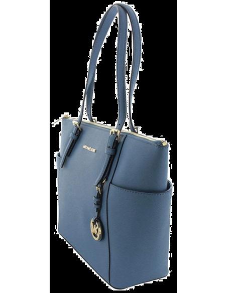 Chic Time | Sac à main Michael Kors Sac Jet Set en cuir Bleu saffiano à glissière sur le dessus  | Prix : 250,00€