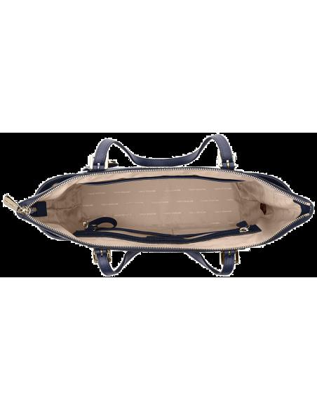 Chic Time | Sac à main Michael Kors Sac Jet Set en cuir blue saffiano à fermeture à glissière  | Prix : 250,00€