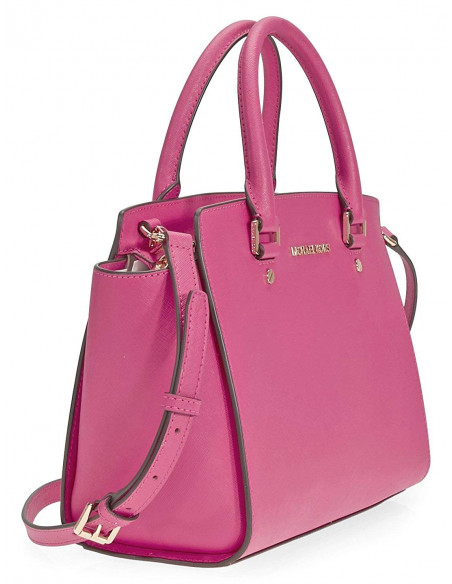 Chic Time | Sac à main Michael Kors Selma Sacoche cuir saffiano rose  | Prix : 350,00€