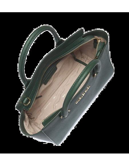 Chic Time | Sac à main Michael Kors Selma Sacoche cuir saffiano vert  | Prix : 350,00€