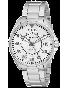 Chic Time   Montre Hamilton H64615155 Pilot Day-Date cadran gris bracelet acier s bracelet cuir noir    Prix : 820,00€