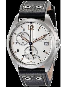 Chic Time | Montre Hamilton H76512755 Pilot Pioneer Chronographe bracelet cuir noir  | Prix : 423,90€