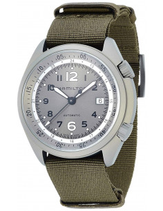 Chic Time | Montre Hamilton H80405865 Khaki Aviation Pilot Pioneer Aluminium automatique bracelet NATO couleur kaki  | Prix :...
