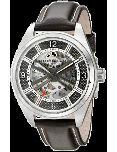 Chic Time | Montre Hamilton H72515585 Khaki Field Skeleton automatique acier bracelet cuir noir  | Prix : 869,40€