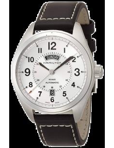 Chic Time | Montre Hamilton H70505753 Khaki Field Day Date automatique bracelet cuir cadran argent  | Prix : 650,70€