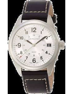 Chic Time | Montre Hamilton H68551753 Khaki Field quartz cadran argent bracelet cuir  | Prix : 383,00€