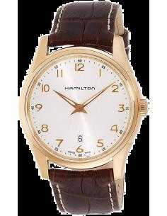Chic Time | Montre Hamilton H38541513 Jazzmaster thinline quartz acier et PVD or rose cadran argenté bracelet cuir 42mm  | Pr...