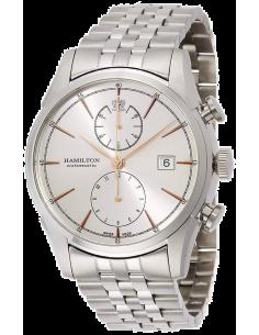 Chic Time | Montre Hamilton H32416181 Spirit of Liberty chronographe automatique cadran gris index or rose bracelet acier  | ...