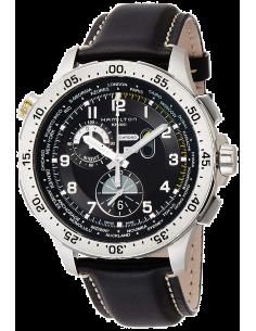 Chic Time | Montre Hamilton H76714735 Khaki Aviation worldtimer quartz bracelet cuir  | Prix : 1,295.00