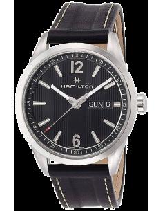 Chic Time | Montre Hamilton H43311735 Broadway Day-Date quartz acier sur cuir noir 40 mm  | Prix : 645,00€