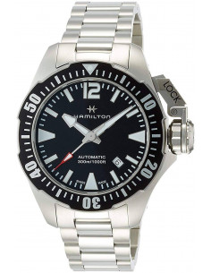 Chic Time   Montre Hamilton H77605135 Khaki Navy Frogman automatique acier cadran noir 42 mm    Prix : 985,50€